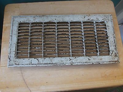 Vintage Shabby Cast Metal Floor Grate Painted White 15 3/4 by 7 3/4 Inches