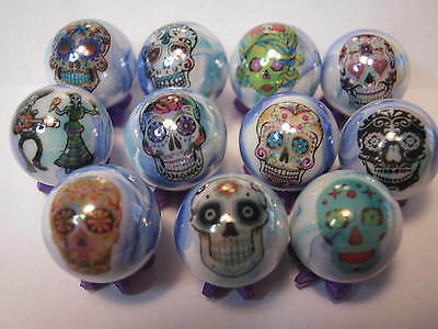 day of the dead skulls dia de los muertos glass marbles collection lot + stands