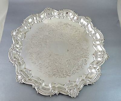 Vintage SHEFFIELD REPRODUCTION Silverplate CHIPPENDALE ROUND FOOTED TRAY 16 1/2""