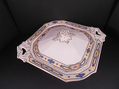 W. H. Grindley  SHERATON IVORY Square Covered Dish - Yellow and Blue - England