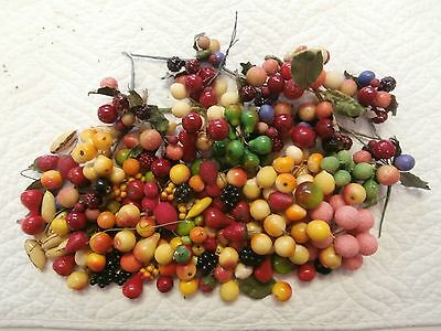 Lot Of Vintage Antique Millinery Fruit For Doll Children's Hats Composition