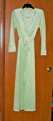 Lovely Womens Vintage Mint Green Nylon & Lace Long Silky Robe Size M