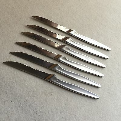 SET Of 6X Chromodur INOX Mundial BRAZIL Stainless STEEL Serrated STEAK Knives