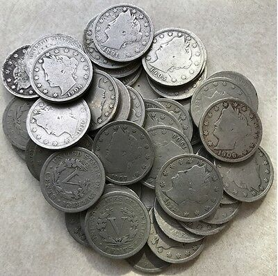 """(Roll of 40) Liberty """"V"""" 5c Nickel US Coins different years"""