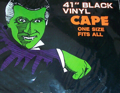"NEW SEALED-HALLOWEEN Vampire OR Dracula 41"" Black Vinyl Cape One Size Fits All"