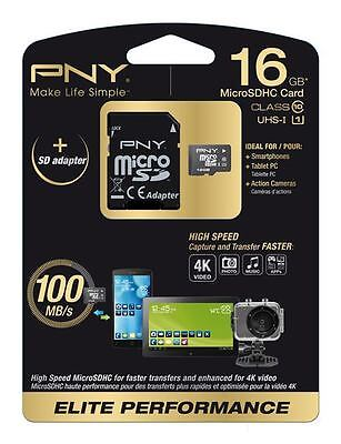PNY SDU16G10ELIPER-EF -  16GB MICRO-SD ELITE PERFORMANCE Class 10 / UHS-1 + ...
