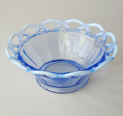 Imperial Glass belled bowl blue optic panels opalescent laced edge 6 inches