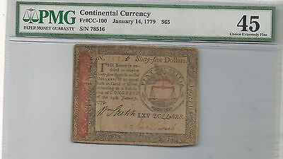 January 14, 1779 $65 Continental Colonial Currency FR#C-100 : PMG 45