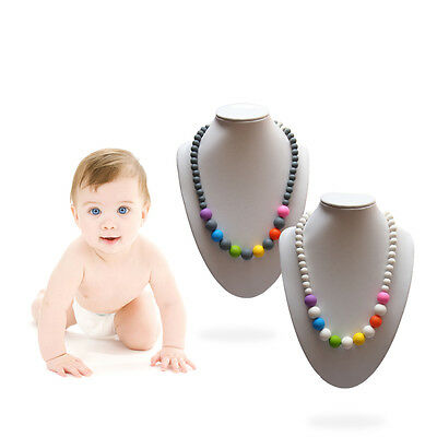Food-Grade Baby Silicone Teething Necklace Teether Nursing Pendant Chain For Kid