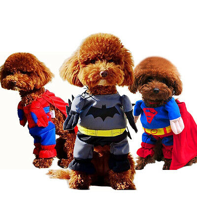 Pet Dog Superman Batman Spiderman Costume Halloween Clothes Cosplay Outfit