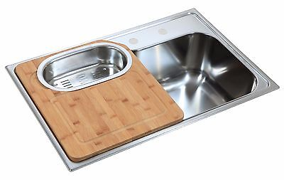 780 x 510mm Inset Polished Stainless Steel Kitchen Sink (LA003)