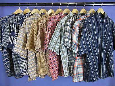 11 x VINTAGE CHECK FLANNEL SHIRTS SHORT SLEEVE WHOLESALE JOB LOT 40''-46''