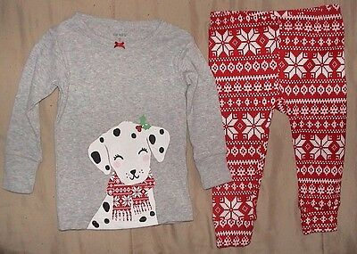 Carters 2 Piece Sleepwear Set With Dalmatian-Gray*red & White-Size 12 Months-Nwt