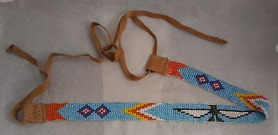 "1"" Vintage Beaded Thunderbird Leather Hat Band Native American Navajo"
