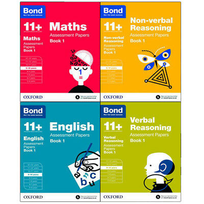 Bond 11+ Assessment Papers 4 Books Collection Set Maths,English,Verbal Reasoning