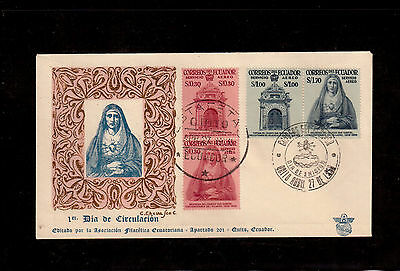 Ecuador 1958 First Day Cover # C320/23 Miracle Of San Gabriel College !!