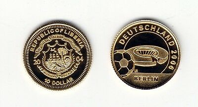 LIBERIA   10 Dollars 2004   FIFA WM Stadion Berlin    Gold!
