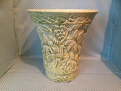 Large rare Art Deco Crown Devon vase in green with leaping stag and foliage.