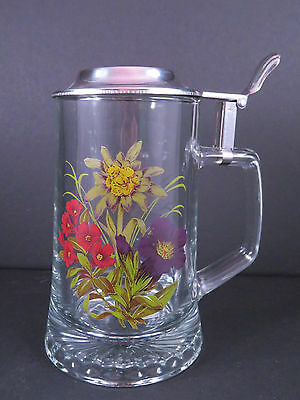 Clear Glass Lidded German Stein - Floral