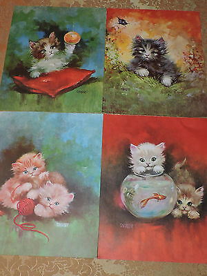 Lot of 4 Vintage Mid-Century Retro Florence Kroger Kitten Cat Lithographs Prints