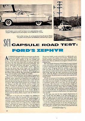1958 Ford Zephyer 156/86-Hp  ~  Original 4-Page Road Test / Article / Ad