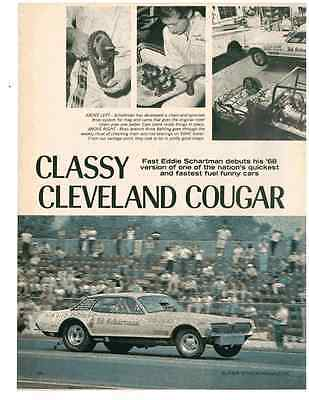 1968 Mercury Cougar  -  Fast Eddie Schartman Drag Racing  ~ 3-Pg Article / Ad
