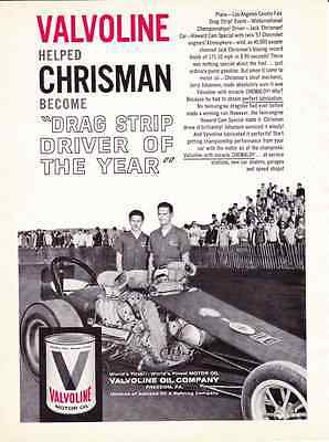 1961 Jack Chrisman / Drag Racing ~ Original Valvoline Ad