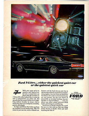 1966 Ford Galaxie 428/365-Hp  / 7-Litre  ~  Vintage Original Muscle Car Ad