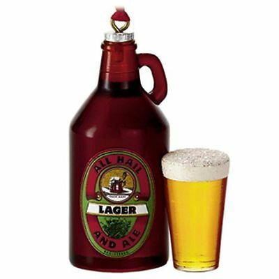 Microbrew Growler Lager Bottle and Cup of Beer Ornament by Hallmark