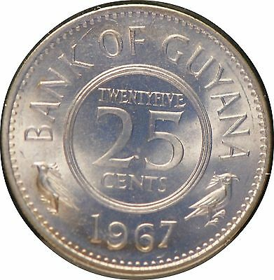 Guyana, 1967 25 Cent, Uncirculated                                           .gm