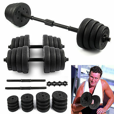 30Kg Barbell Dumbbell Set Bar Home Gym Fitness Free Weights Non-Slip Training