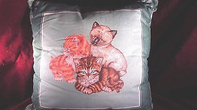 DECORATIVE PILLOW with 3 CATS   HANDMADE