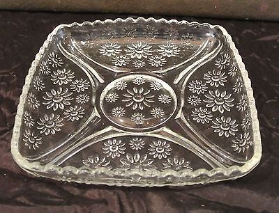 Vintage Clear Press Glass Square Dish with Daisies and Sawtooth Edge