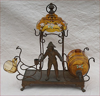 Harlequin in Kiosk Enameled Glass Brass Corial Stand 1900