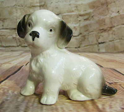 Vintage Pottery Puppy Dog Figurine Adorable White w/ Black Ears & Tail 7785