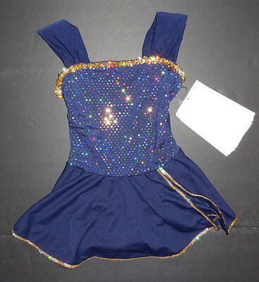 NWOT Tap Dance COSTUME Navy Gold Metallic Girls Small Child Dance Pageant