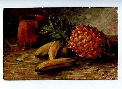 184722 Still Life PINEAPPLE Banana Table by GIESLER Vintage PC