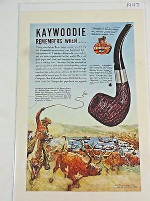 Vintage - 1947 KayWoodie Tobacco Pipes Print Ad  / Ninety-Fiver / Centennial +