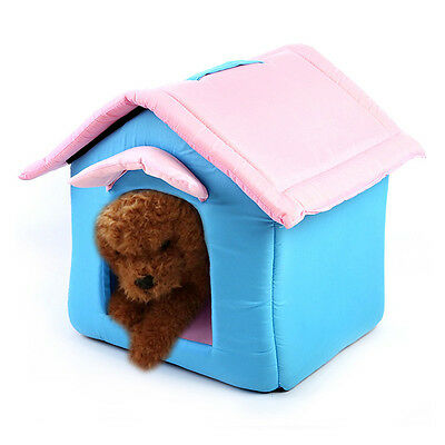 New Pets House Washable Dog Cat Warm Cave Bed Kennel Nesting Hut Shelter W/Mat