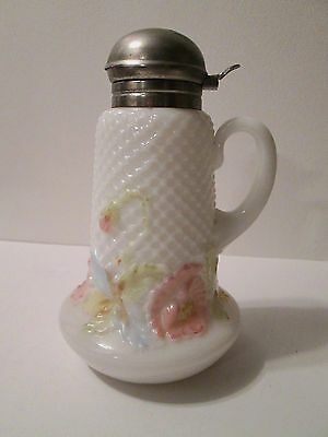 Rare FISHNET & POPPIES SYRUP PITCHER JUG Antique Victorian C1895 EAPG Milk Glass