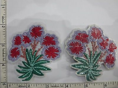 Appliques Embroidery Patch Motif Floral Heat Transfer Heat Press Iron Sew on 2pc