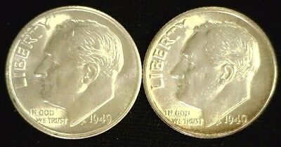 Pair Of Early Date Roosevelt Silver Dimes 1949 & 1949-S Au Bu   (3319)