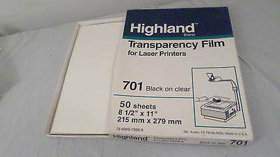Highland Transparency Film for Laser Printers Black on Clear 701 78-6969-7996-8