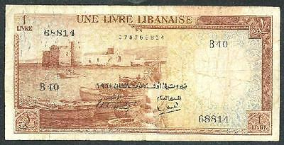 "Lebanon 1964 Lira Discontinued Banknote ""scarce"" #3502 Low Price & Free Usa Ship"