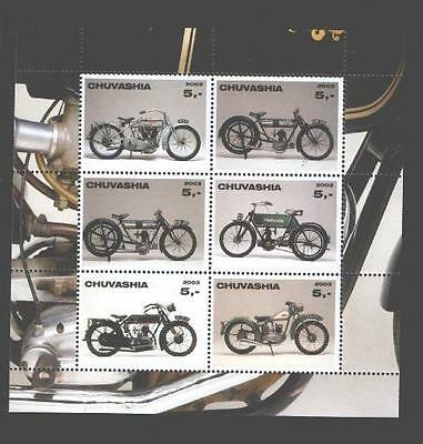 030762 Motorcycles set of 6 stamps CHUVASHIA 2003 MNH #30762