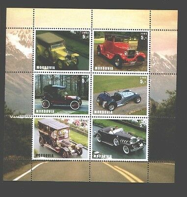 030768 OLD CAR set of 6 stamps MORDOVIA 2003 MNH#30768