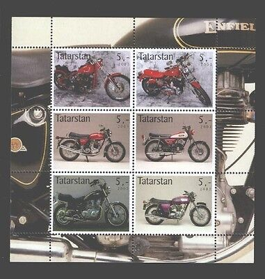 030770 Motorcycles set of 6 stamps TATARSTAN 2003 MNH #30770