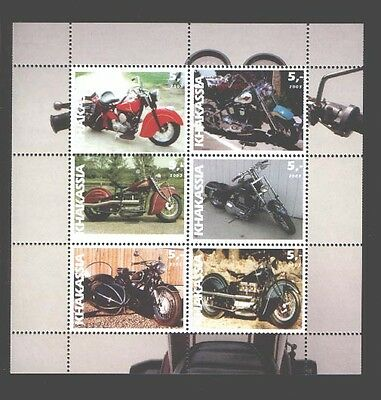 030772 Motorcycles set of 6 stamps KHAKASSIA 2003 MNH #30772