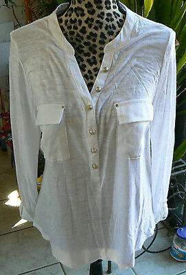 White House Black Market large L 3/4 sleeve womens top blouse,pockets,buttons
