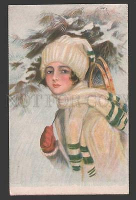 115021 Snowbird Lady by Harrison FISHER old FINNISH 30/25 RARE